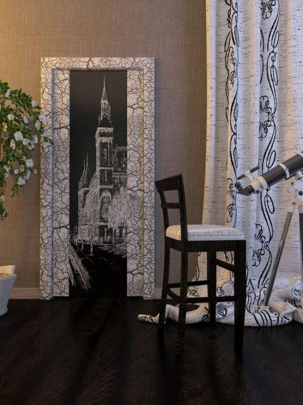 Дверь с кракелюром в современном стиле интерьера