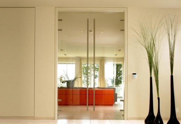 Стеклянная двустворчатая дверь в офисе