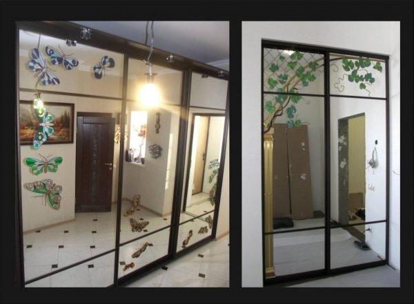Зеркальные двери с УФ-печатью