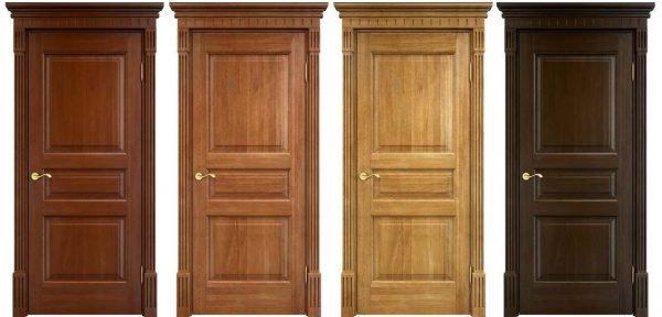 Варианты оттенков дверей из дуба