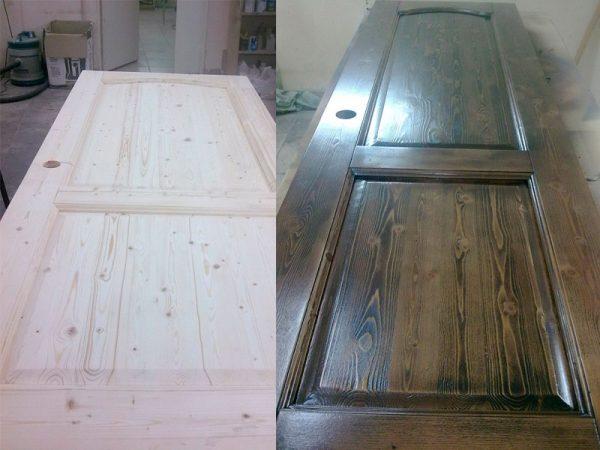 Деревянная дверь до и после окрашивания