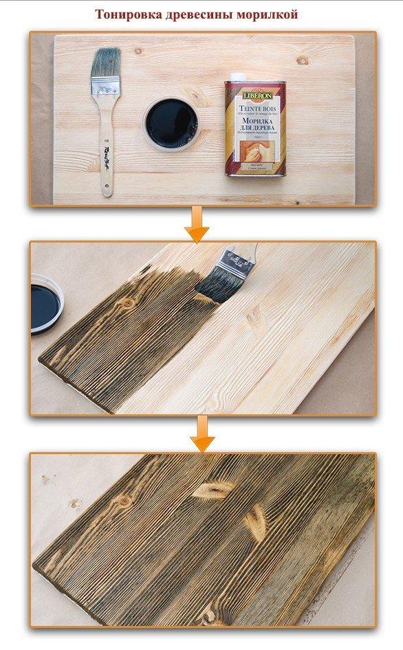 Применение морилки для древесины