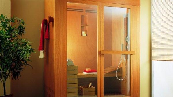 Двери с деревянным каркасом и большим стеклом