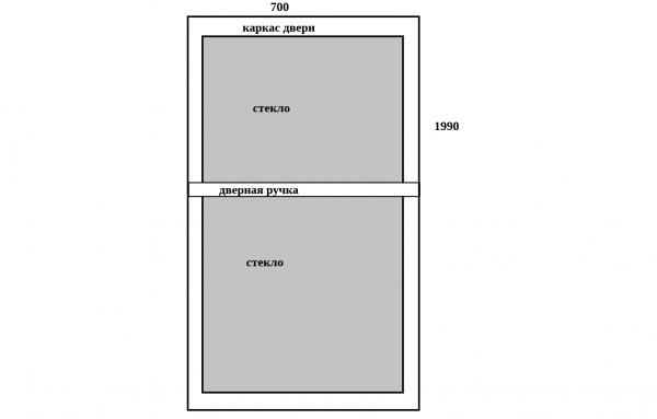 Вариант простого чертежа двери с большим стеклом