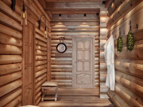 Двери внутри бани для разных комнат