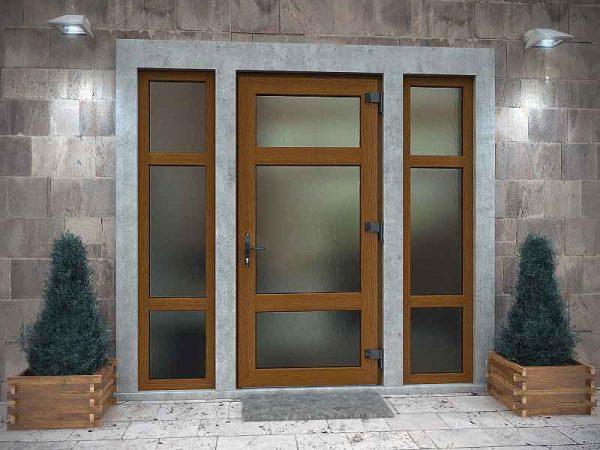 Простые входные двери со стеклом