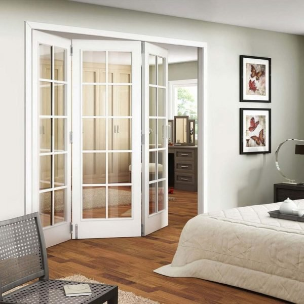 Двери-гармошка со стеклом