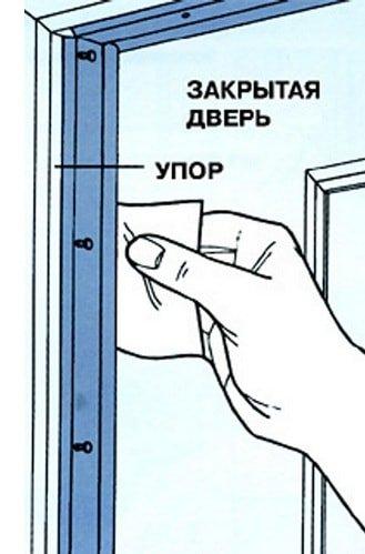 Проверка зазора между коробом и ПВХ-дверью