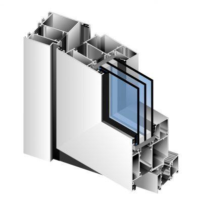Схема тёплого профиля с тремя стёклами