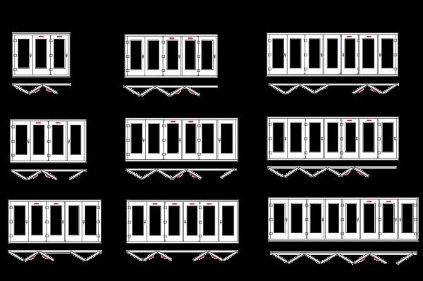 Схемы открывания сдвижных конструкций