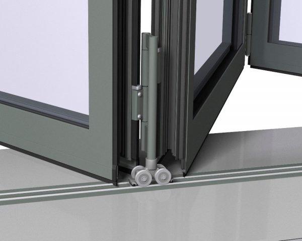 Ролики на складной двери из стеклопакетов