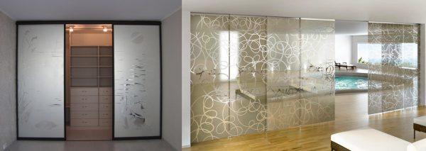 Двери из матированного стекла с нанесением рисунка