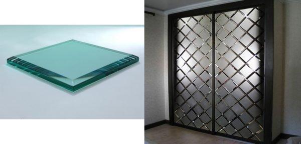 Фацетированное стекло и дверь с фацетами