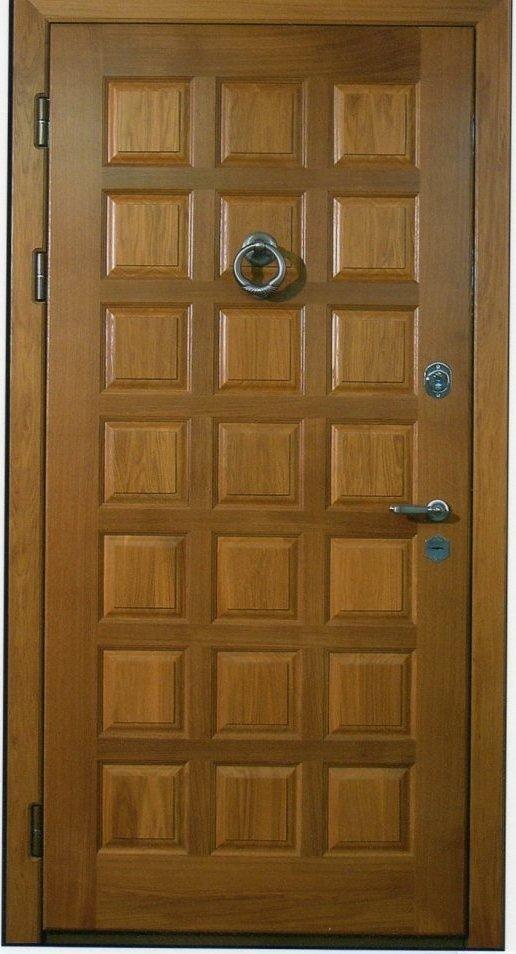 Отделка двери массивом дуба