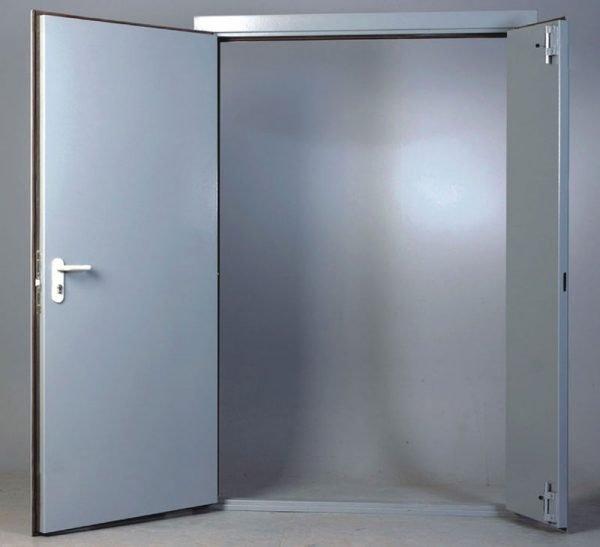 Двустворчатые противопожарные металлические двери