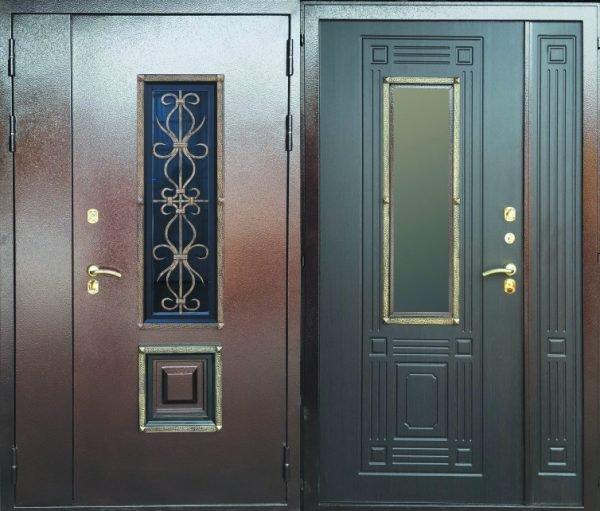 Варианты металлических дверей со стеклом