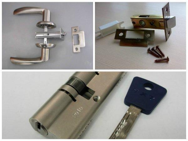 Элементы врезного замка для двери