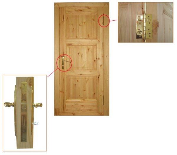 Вариант деревянной двери с филёнками