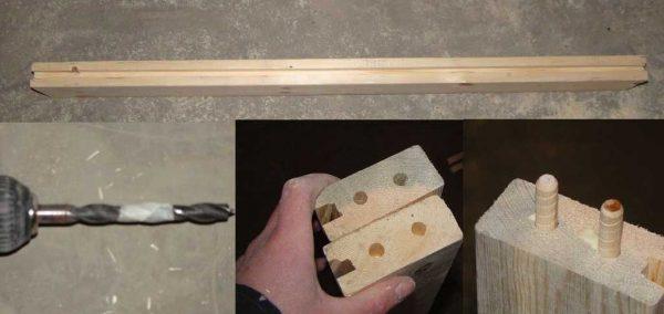 Сборка двери на шканты