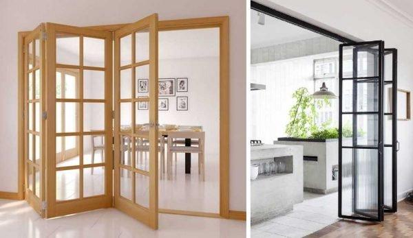 Примеры складных стеклянных дверей