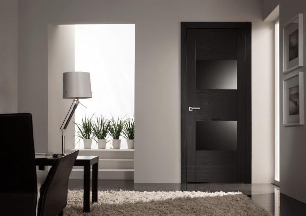 Межкмонатные двери с темным стеклом
