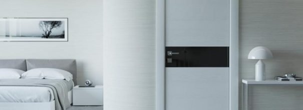 Современный белый интерьер с контрастной вставкой в двери