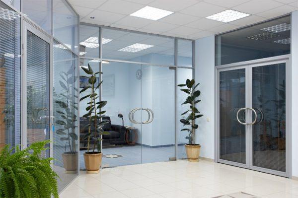 Вариант стеклянных офисных дверей