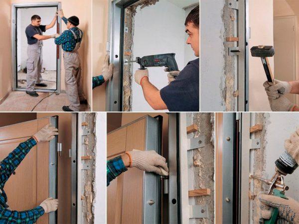 Установка дверного металлического полотна