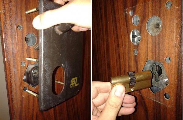 Установка врезного замка в металлическую дверь