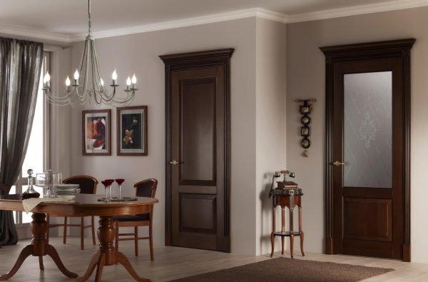 Деревянные межкомнатные двери шоколадного цвета