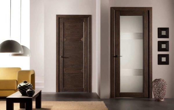 Шпонированные двери цвета венге в интерьере