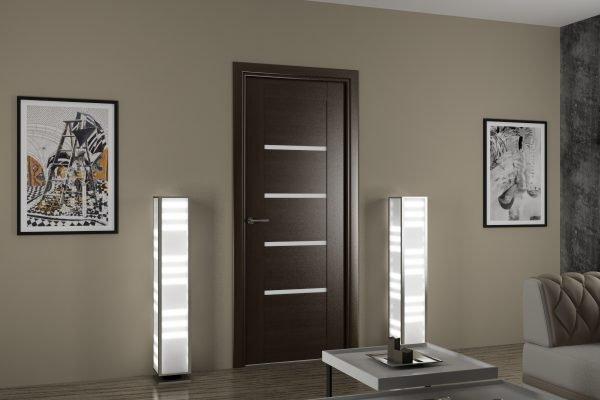 Ламинированные двери венге с горизонтальными вставками