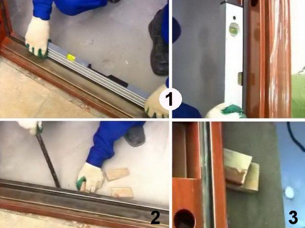 Выравнивание рамы входной двери