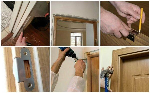 Этапы монтажа деревянной межкомнатной двери