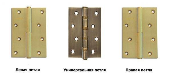 Левые и правые дверные петли
