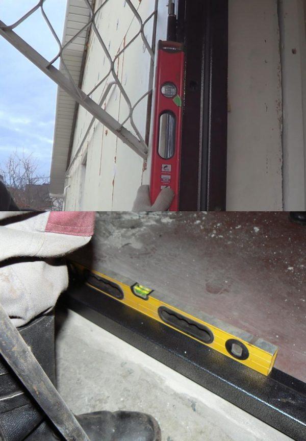 Проверка правильности установки дверной коробки