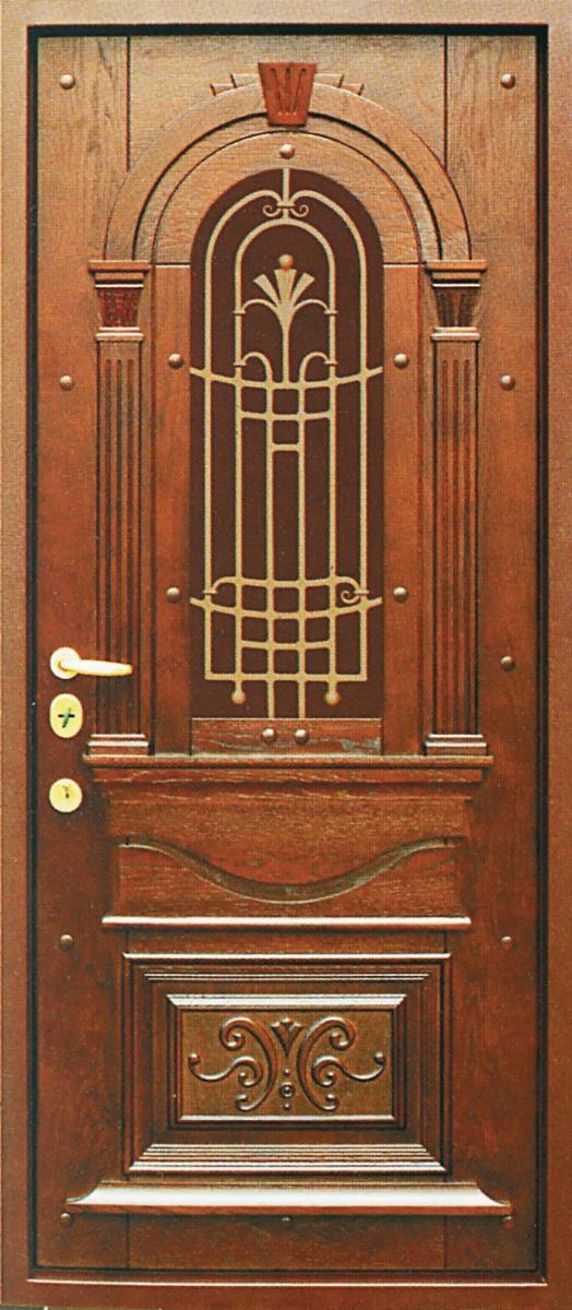 Металлическая дверь для загородного дома, отделанная МДФ