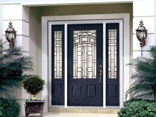 Металлическая уличная дверь со стеклопакетами