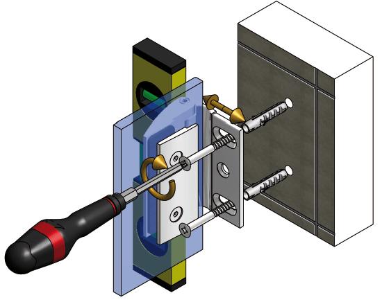 Схема регулировки крепления стеклянной двери