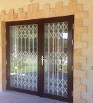Двустворчатые входные двери с ковкой