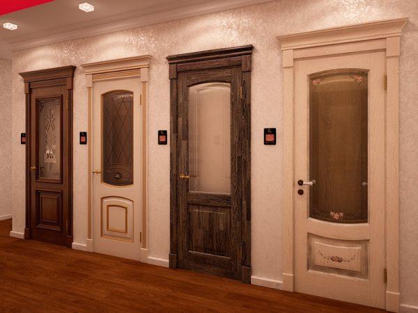 Варианты деревянных дверей со стеклом и филёнками