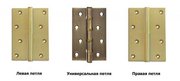 Виды дверных петель