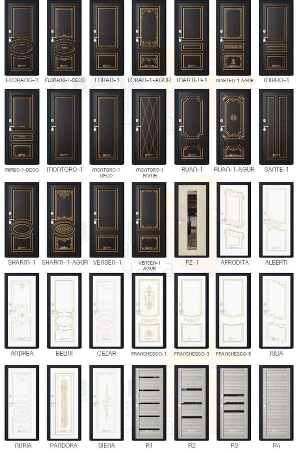 Модельный ряд внутренних накладок для входных дверей «Эстет»