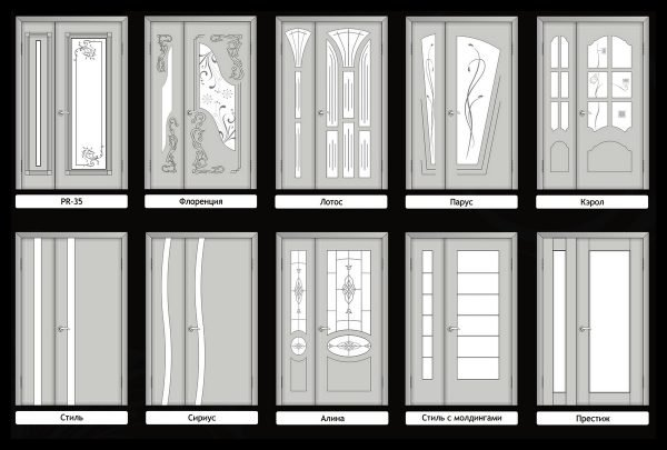 Распашные двери «Эстет» с несимметричными филёнками
