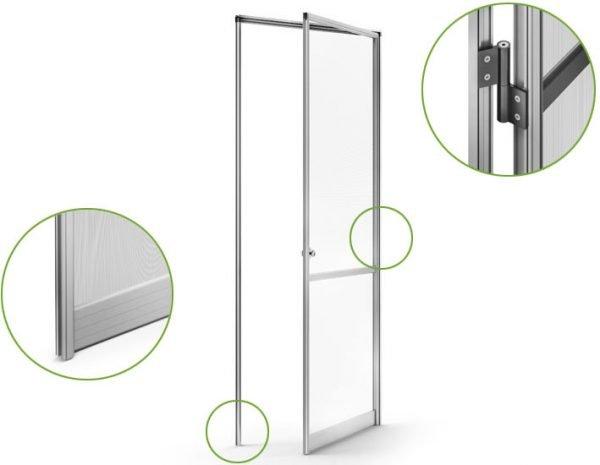 Устройство распашной москитной двери-сетки