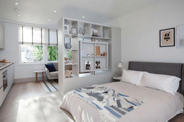 Мебельная перегородка в однокомнатной квартире