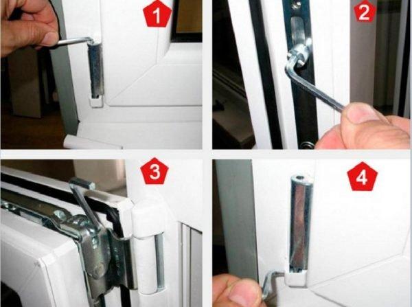 Регулировка петель пластиковой двери