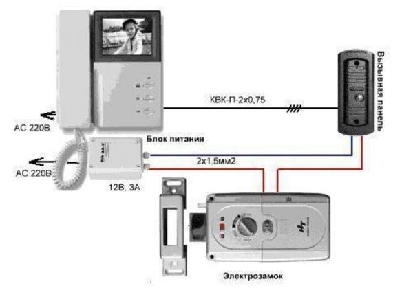 Схема подключения видеодомофона с замком