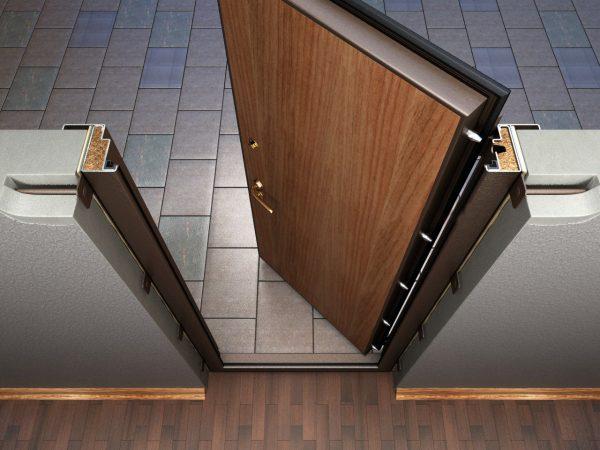 Резиновые уплотнители в коробке металлической двери