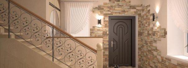 входные двери отделка камнем